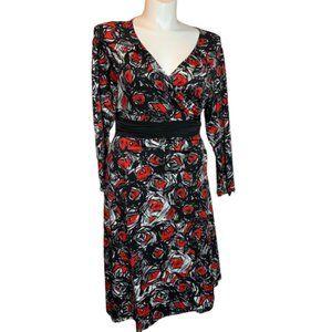 IGIGI Queen Of Hearts Red Roses Wrap Dress